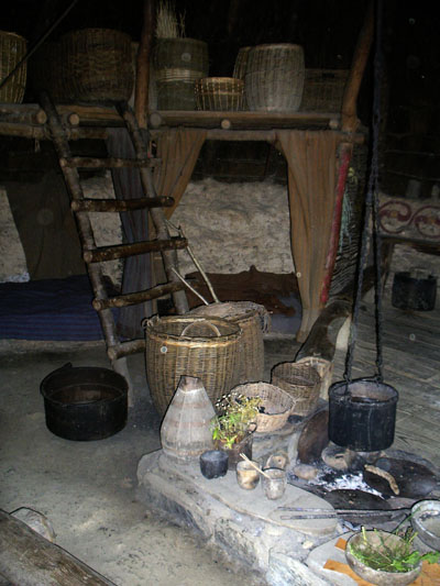 Photograph of the central fireplace with cauldron and other related objects
