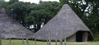 Photograph of Celtic roundhouses at Castell Henllys