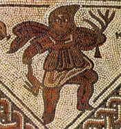 Mosaic depicting Winter wearing a birrus holding a brown hare in his right hand and a bare tree in his left.