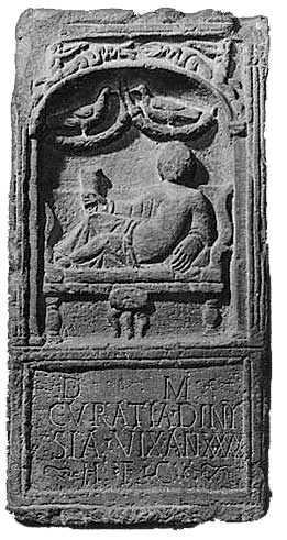 Tombstone showing Roman Lady Dining in Chester